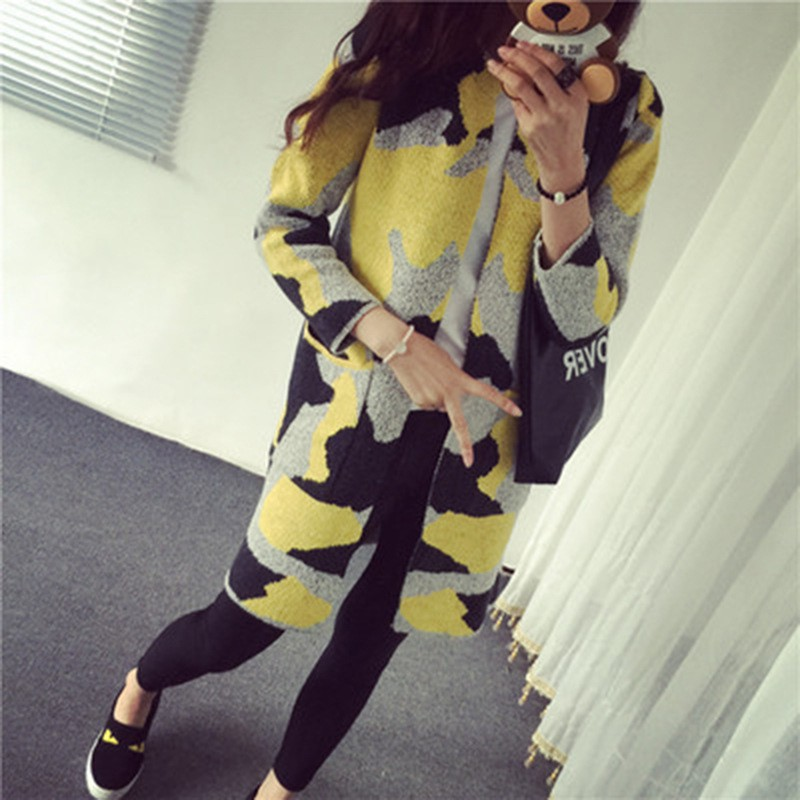 Long Sleeve Sweater 2018 new Women Autumn Winter Fashion New Camouflage Long Knitted Female Cardigan Womens sweater
