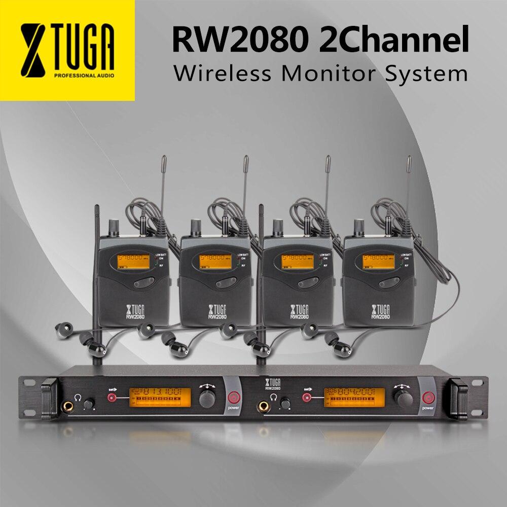 XTUGA RW2080 Sistema de Monitor inalámbrico de escenario UHF en auriculares y receptores de oreja 4 sonido micrófonos profesionales