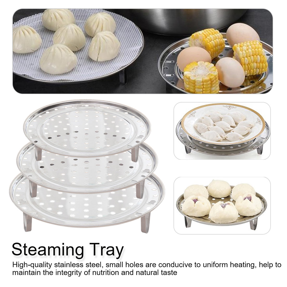 Multifunctional Stainless Steel Cooking Steamer Three Legged Shelf Cooking Tool Round Steamer Rack Steaming Stand Kitchenware