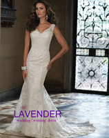 New Arrival Sexy V Neck See Through Back Romantic Lace Wedding Dress 2014 Sheath Style Custom