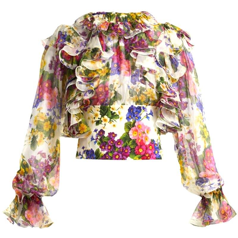 Mode 2019 printemps piste Designer à manches longues chemise femmes magnifique Floral à volants chemise en mousseline de soie chemise d'été dames hauts