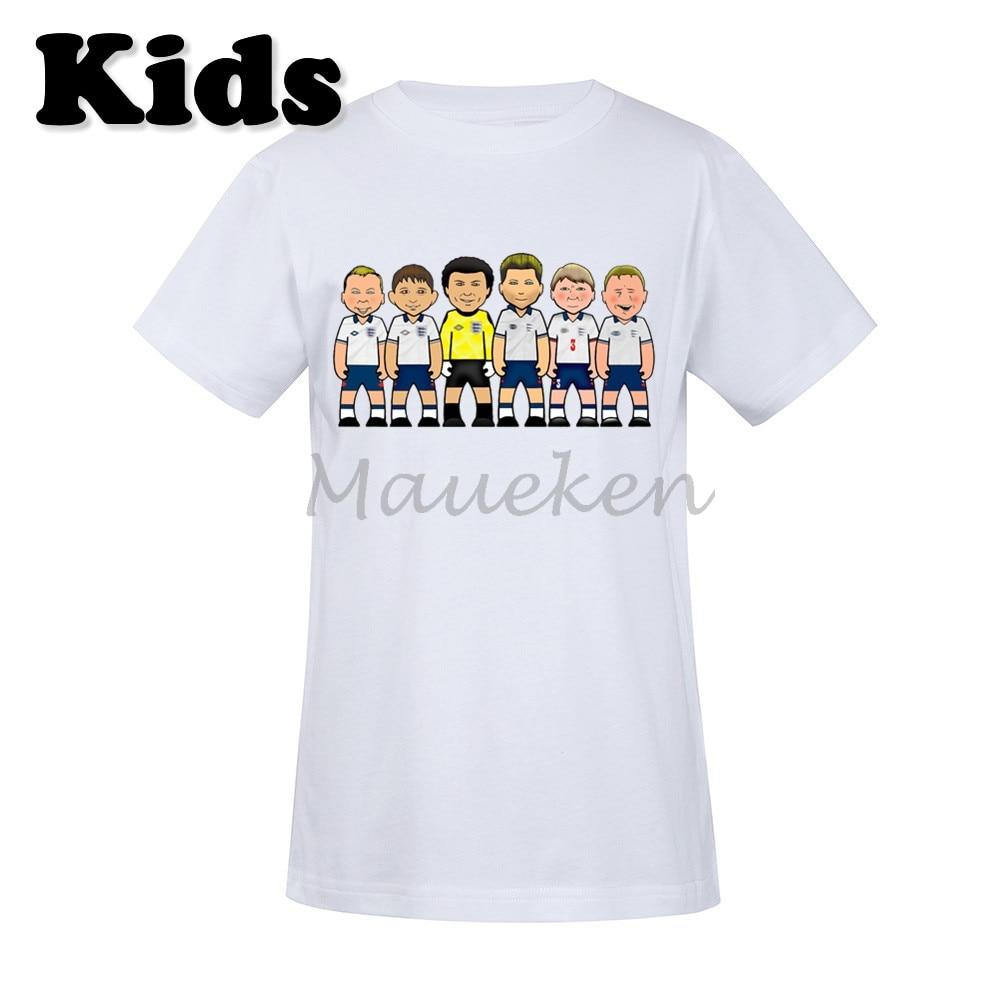 Kids England 90's Legends Chris Waddle Gazza Stuart Pearce David Platt Gary Lineker Peter Shilton T-shirt Youth boys girl tee