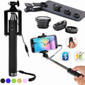 Kit Lente Macro Lens Mobile Camera Lens Fish Eye Fisheye with Wired Selfie Stick Pole Monopod For Apple IPhone 4S 5S 6 6S Plus 7