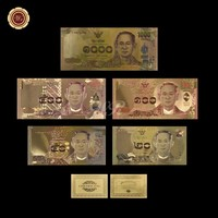 WR Home Decorative Art Crafts Quality Colorful Gold Banknote Thailand Set Color Gold Banknote Collection Gifts
