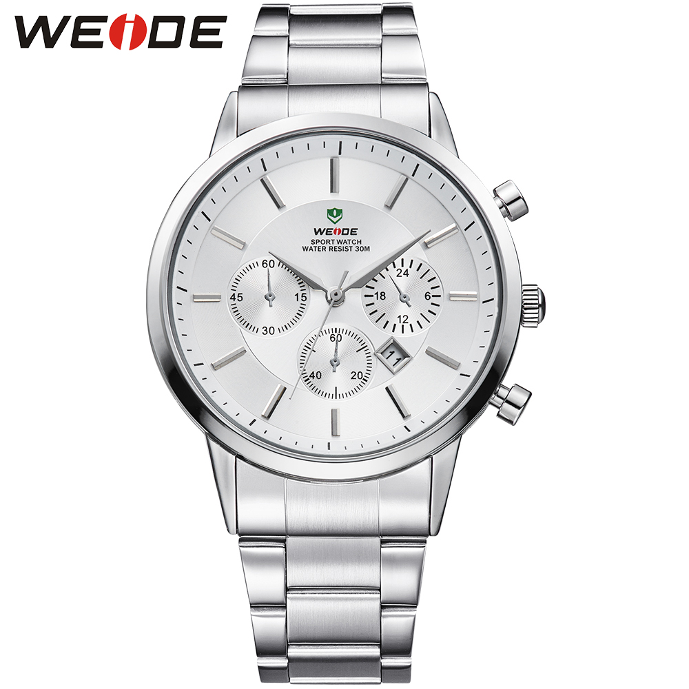 ФОТО WEIDE Top Brand Men Waterproof Sports Quartz Watch White Dial Steel Band Casual Male Clock Analog Date Display Military Watches