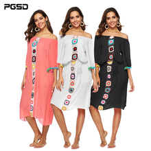 PGSD 2019 Spring Summer Simple Fashion Women Clothes Irregular Crochet stitching boat neck Waistband Beach Blouse Dress female