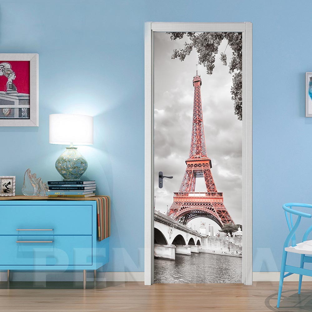 Wallpapers Renovation DIY Paris Tower Self Adhesive 3D PVC Stickers Door Waterproof Home Decor For Room Decal Print Art Picture