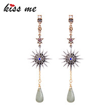 KISS ME Women Earrings 2018 Trending Styles Rhinestone Star Natural Stone Water Drop Dangle Earrings Retro Accessories(China)