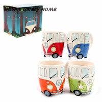HUFA'S MOOIE HOME Cartoon Dubbele Bus Mokken Hand Schilderen Retro Keramische Cup Koffie Melk Thee Mok Drinkware Novetly festival Geschenken