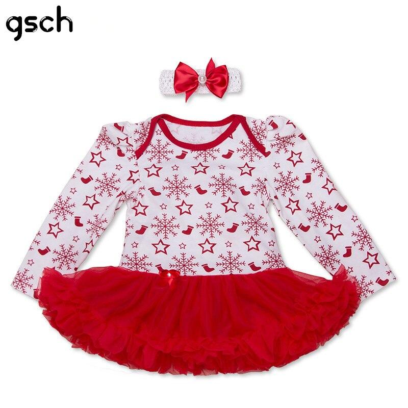 c838ec3dc2b0 GSCH Baby Christmas Dress Cotton 2016 Baby Girls Clothing Xmas Party Tutu  Romper+Headband Girls