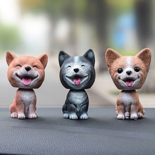 Hot Shaking Head Dog Ornament Resin Cute Nodding Decoration Gift For Car Interior Home Room JLD
