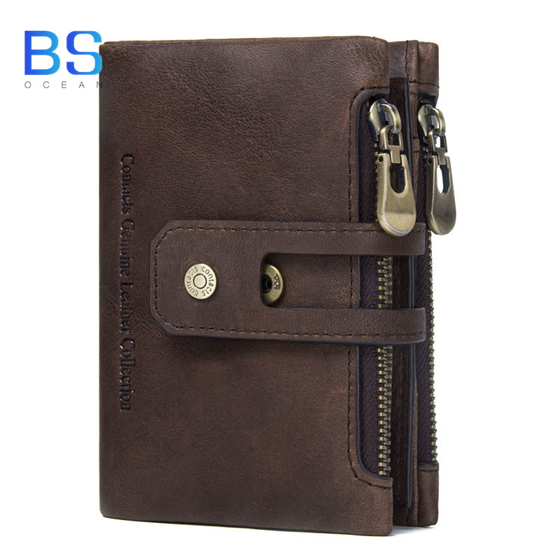 OCEAN BS Genuine Leather Men Wallet Small Men Walet Zipper&Hasp Male Portomonee Short Coin Purse Brand Perse Carteira For Rfid
