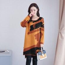 2017 Women dress Print Loose Knitting Long Render Sweater Dresses Khaki Caramel Color 6118