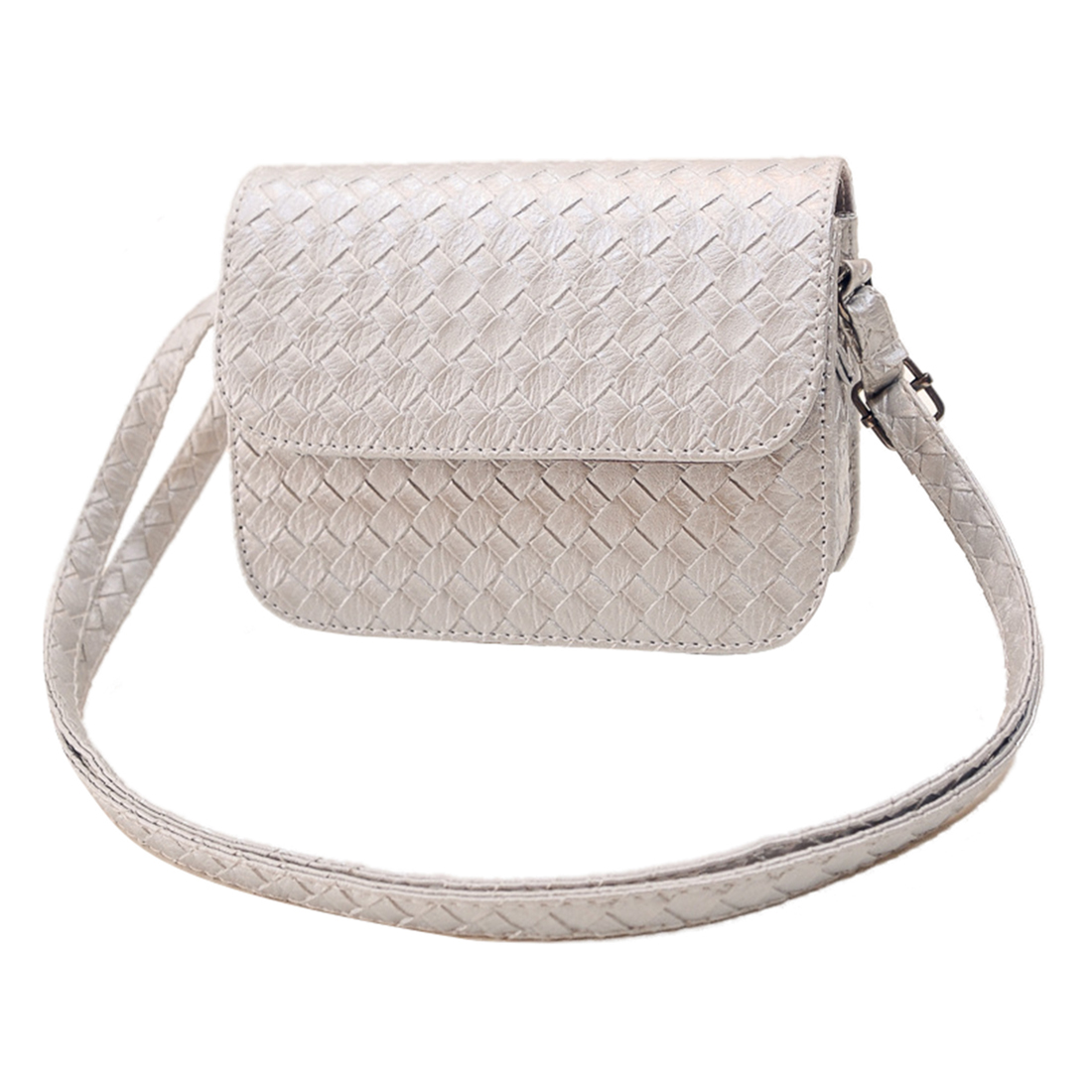 New women's PU Leather Handbag Shoulder Bag Clutch Tote Purse Messenger(Silver) new womens shoulder leather bag clutch handbag tote purse hobo messenger bag popular