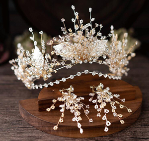 Image 2 - HIMSTORY European Gold Brides Tiaras Crowns Handmade Leaf Crystal Headpieces Wedding Headbands Accessory Holiday Hair Jewelry