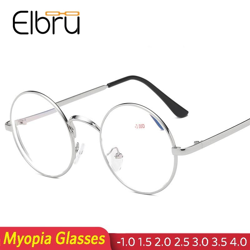 Elbru Finished Myopia Glasses Prescription Men Women Vintage Metal Myopia Eyewear Round Shortsight Glasses Clear Lens Diopter