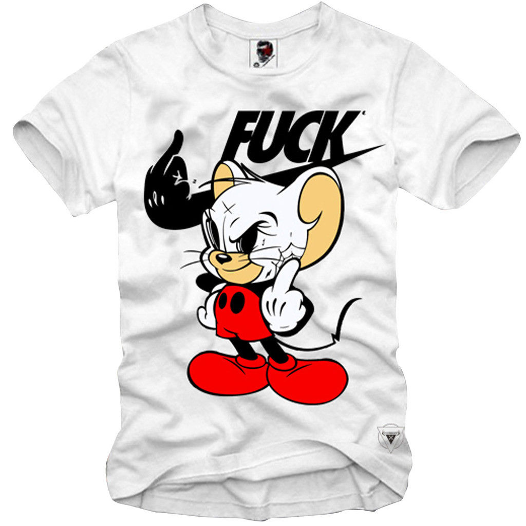 T SHIRT MICKEY RAT DISOBEY MIDDLE FINGER CARTOON MEME FUN 2690c  Cartoon t shirt men Unisex New Fashion tshirt Loose Size-in T-Shirts from Men's Clothing on AliExpress - 11.11_Double 11_Singles' Day 1