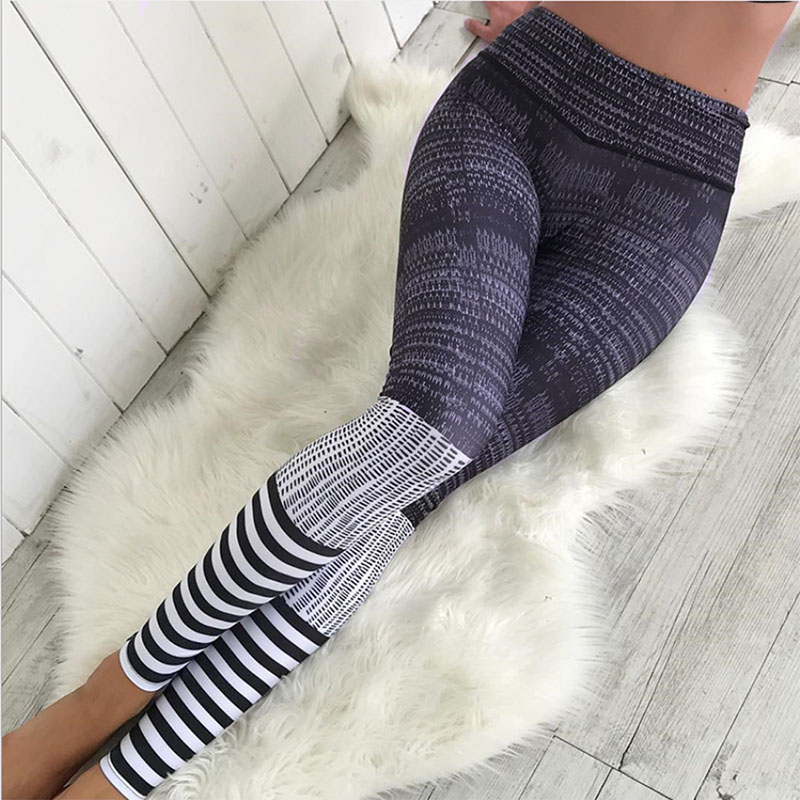 2018 Fitness Fashion Polyester Leggings Striped Pattern Digital Printed Women Workout Sexy Slim Leggings