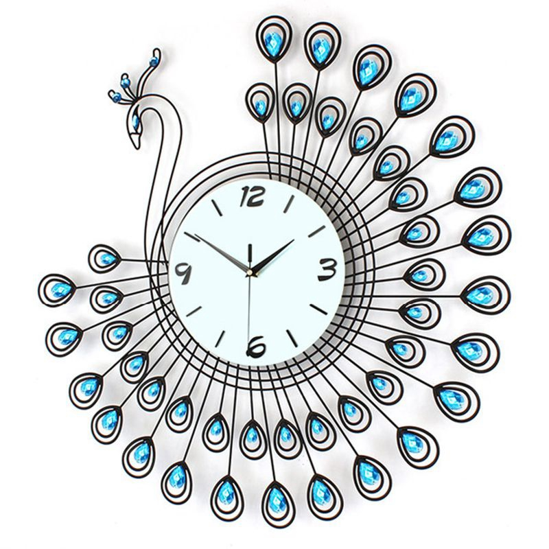 3D Big Peacock Wall Clock Modern Design Home Decor Wall