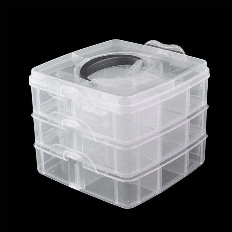 Fold 3 layer nail art decor storage box plastic empty cosmetic