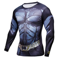 Mens Clothing physical education Fitness t shirt 3D Superman/Captain America Long Sleeve tights T-Shirt Men Crossfit Compression