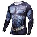 Mens clothing la educación física fitness t shirt 3d superman/capitán américa leotardos de manga larga camiseta de los hombres de compresión crossfit