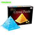HAPPYXUAN 38 pcs 7.5*7.5*6.5cm DIY 3D Jigsaw Crystal Puzzle Pyramid Yellow Blue Plastic Educational Toys For Children