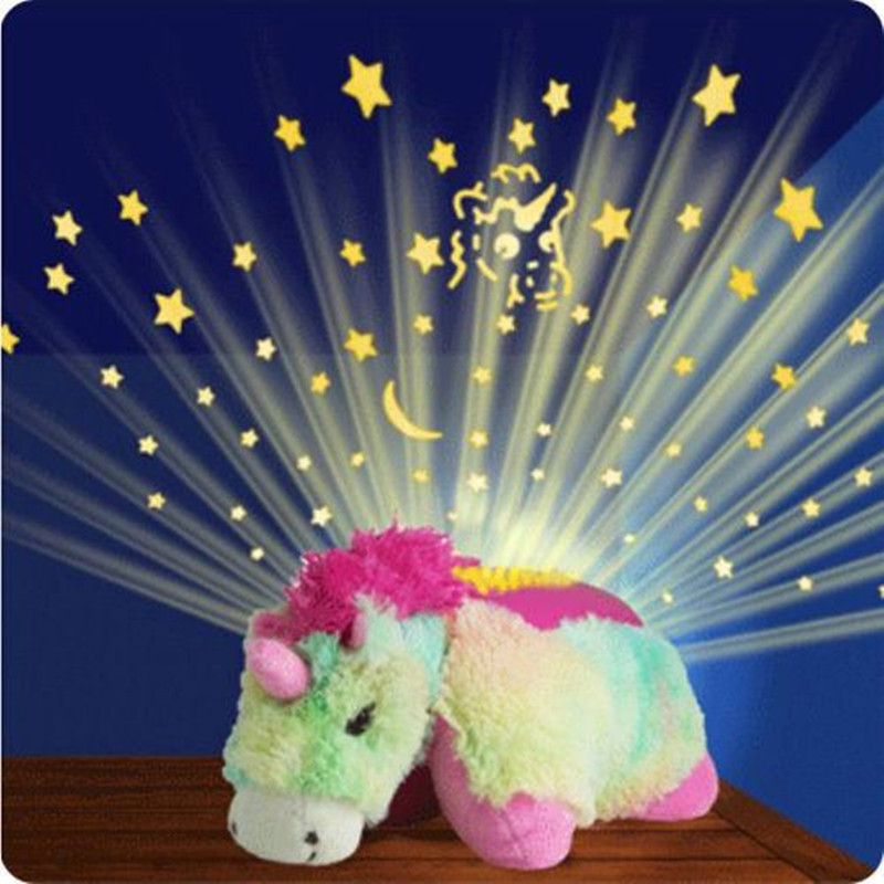 2017 Led Toys Luminous Unicorn Cuddle Pet ბალიშები Starry Sky Night Light Glow in Dark Sleep Light Kids Baby Light Up Toys