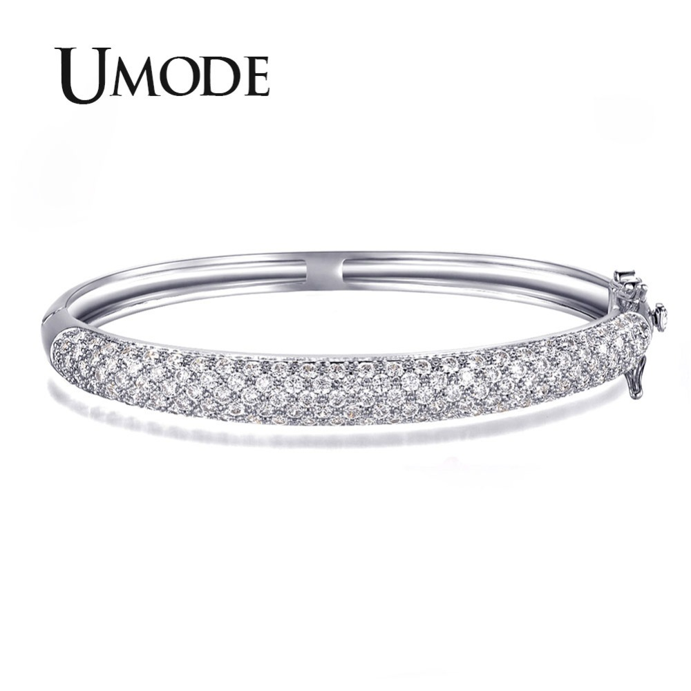 UMODE Luxurious Party Jewelry White Gold Color 129 pcs 0.03ct CZ simulated CZ Stone Pave Bangle Bracelets for Women UB0039BUMODE Luxurious Party Jewelry White Gold Color 129 pcs 0.03ct CZ simulated CZ Stone Pave Bangle Bracelets for Women UB0039B