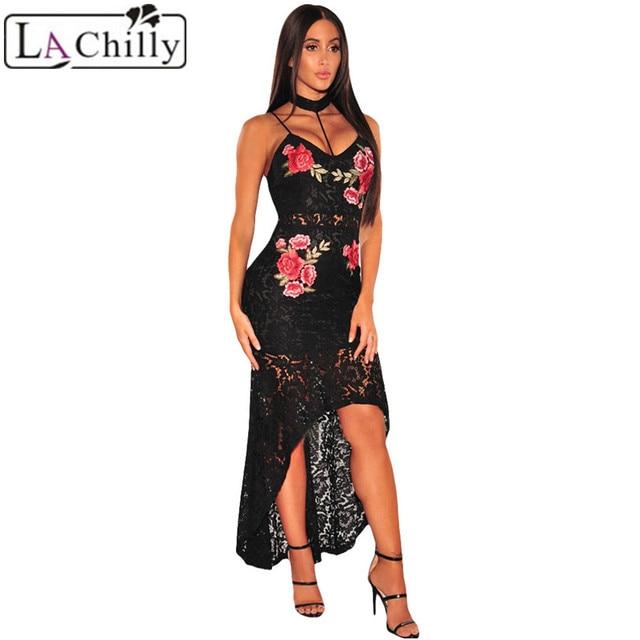 956202740bc La Chilly Vestido Largo 2018 Summer Ladies Dresses Black Floral Maxi Dress  Lace Choker High Low Dress Vestido Renda LC61667