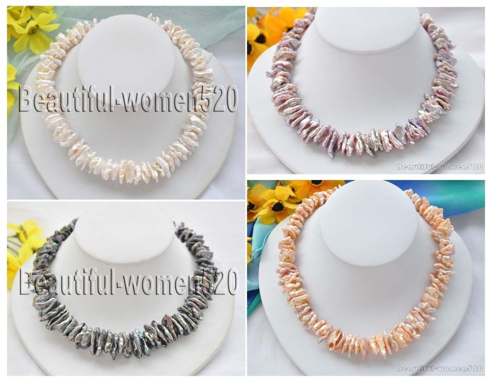 X0228 New Style DENS BIWA FRESHWATER PEARL NECKLACE 17inch