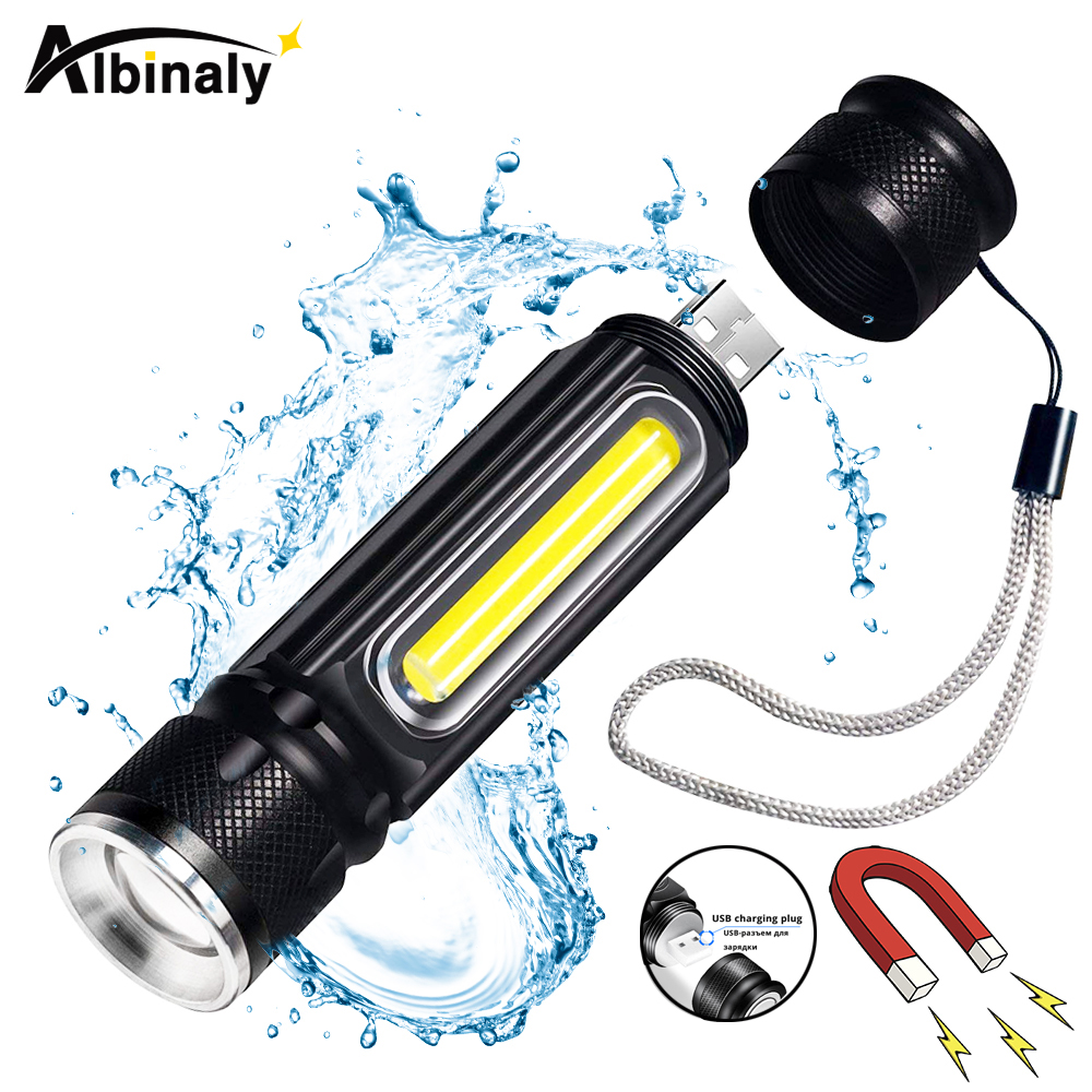 Albinaly® USB Rechargeable LED Flashlight Bicycle Light Side Light Design