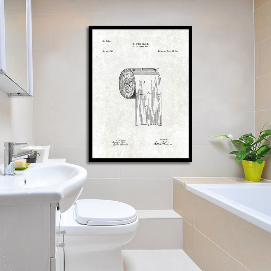 Patent Bathroom Wall Art Canvas