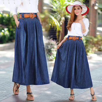Women's European and American explosions large size denim long skirt Street hipster stitching, tie dyeing long skirt 2019 autumn new european and american women s personality stitching ruffled long sleeved round neck slim bag hip dress