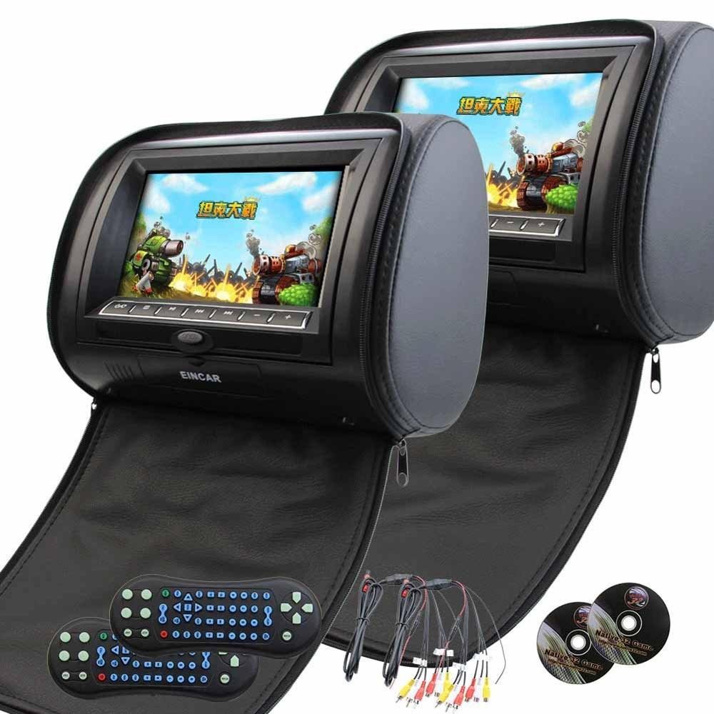 7 Widescreen Headrest Monitor a Pair of DVD Player LCD Screen Car Monitor IR FM Transmitter Game Player with Disc 32bits Game