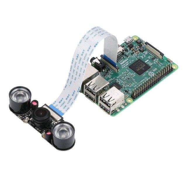 Ahududu Pi 4 Kamera Gece Görüş 150 Derece Geniş Açı ile 5M Piksel 1080P 2 LED el feneri Kamera Modülü ahududu Pi 3 için