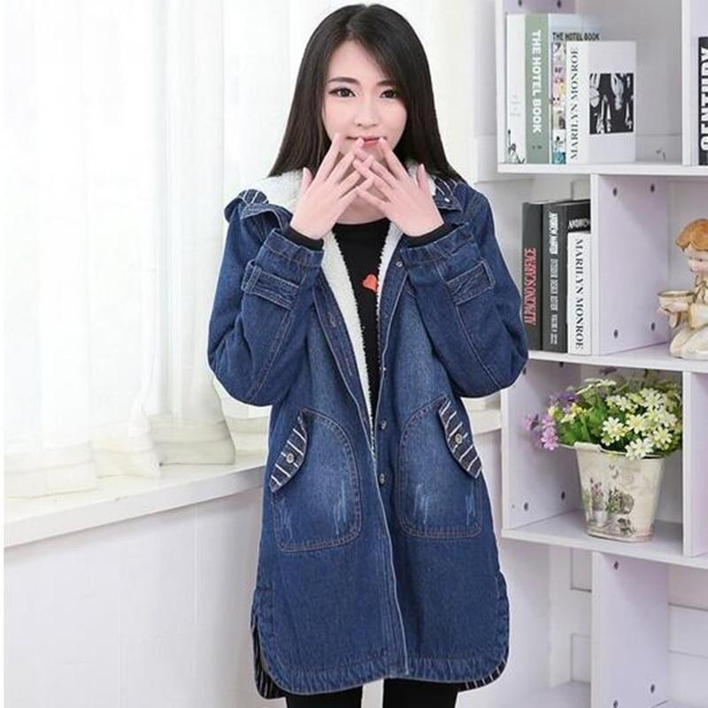 Womens Winter Jackets Loose Large Size Denim Jacket Hooded Lambs Wool Coats Wadded Parka Cotton Jacket Women Basic Coats C2702
