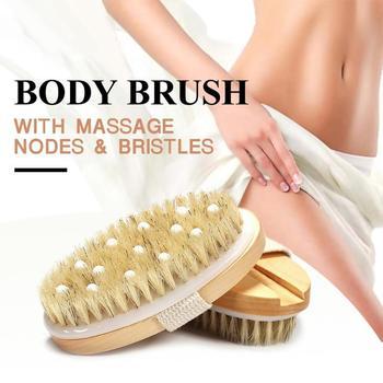 New 2 in 1 Natural Exfoliating Bristle Bath Brush Wooden Body Massage SPA Dry Brush - Bathes Brush Set Bathing Body Brush 1