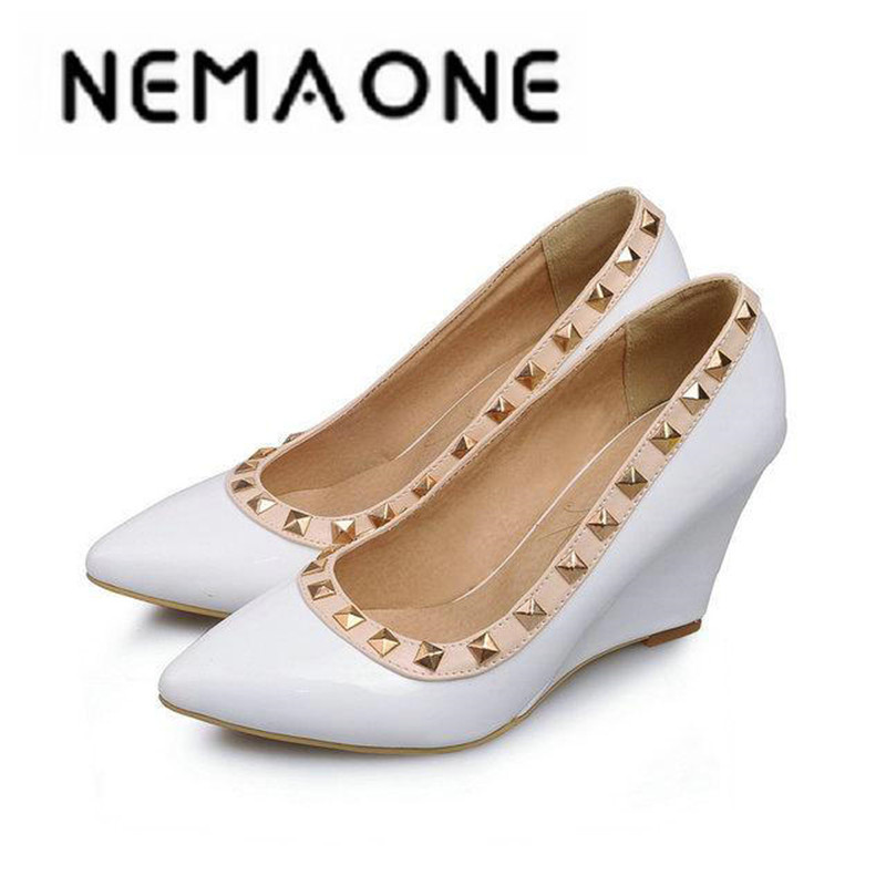 New Summer Women Wedges Shoes Pointed Toe pu Leather Work Shoes Casual Women Pumps large Size 34-43 women in the summer of 2018 the new patent leather nude wedges pointed toe pump work shoes leisure women plus size 35 40 a23