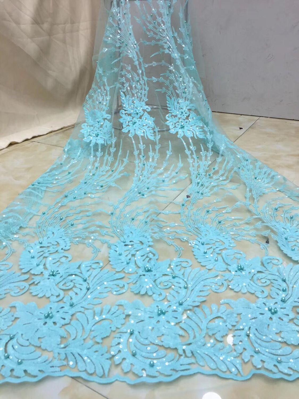 2019 niebo niebieski afryki tkaniny koronki francuski wysokiej jakości bridal paciorkami nigerii koronki tiul koronki tkaniny na wesele w Koronka od Dom i ogród na  Grupa 1