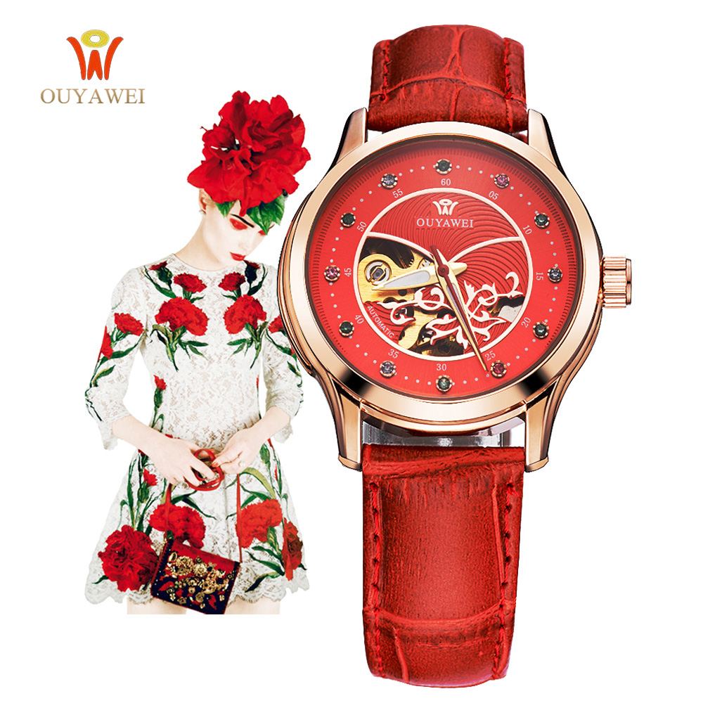 OUYAWEI brand women watches skeleton mechanical watch red leather band ladies elegant fashion casual clock relogio femininos sollen clock women skeleton automatic mechanical watch new arrival design women fashion casual leather watches relogio femininos