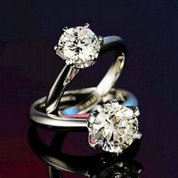TOP Quality 100 Real Pure 925 Sterling Silver Ring Elegant Jewelry Six Claws 1ct Diamant CZ
