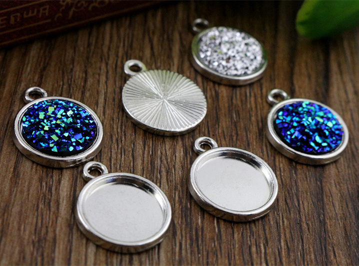 20pcs 12mm Inner Size Rhodium Color Plated Simple Style Cabochon Base Cameo Setting Charms Pendant (A2-24)