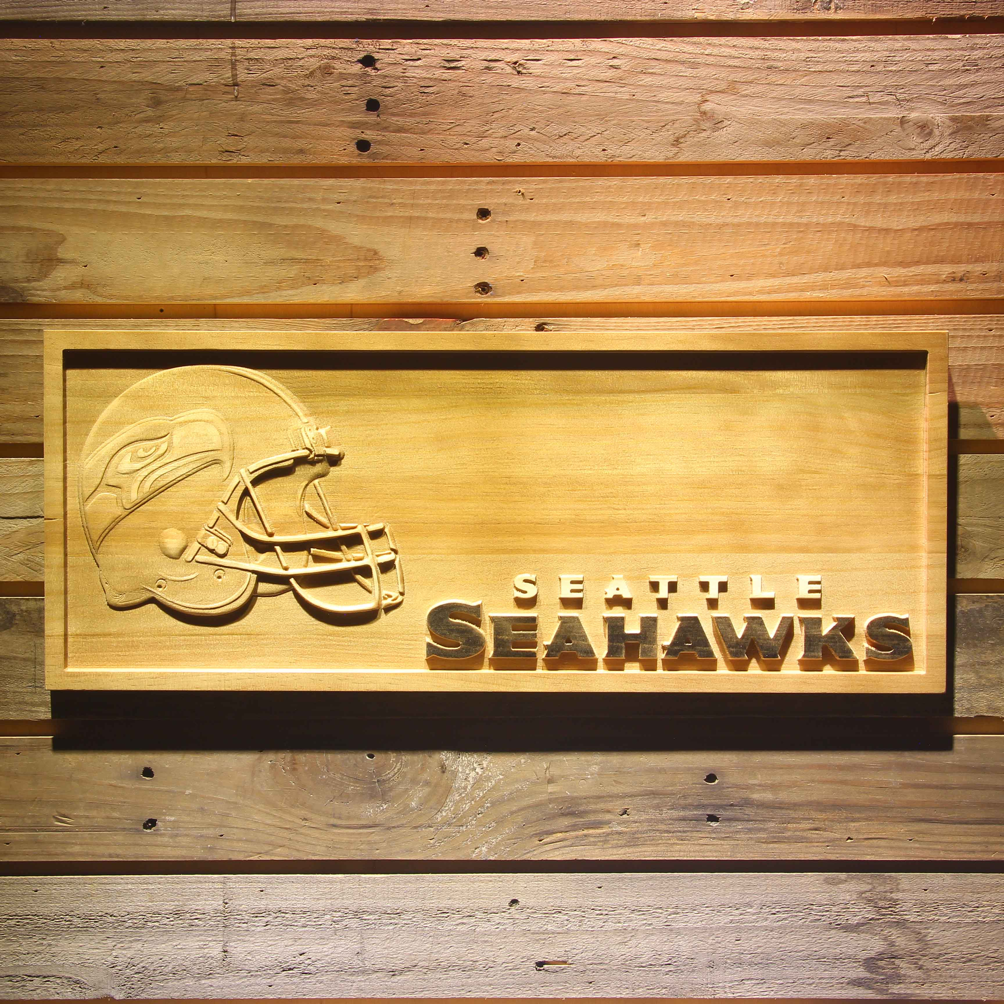 Seattle Seahawks Helmet 3D Wooden Bar Sign-in Plaques & Signs from ...