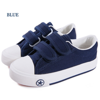 Lente jongens meisjes shoes kind canvas shoes blauw wit rood haak lus shoes baby kinderen sneakers cs-014