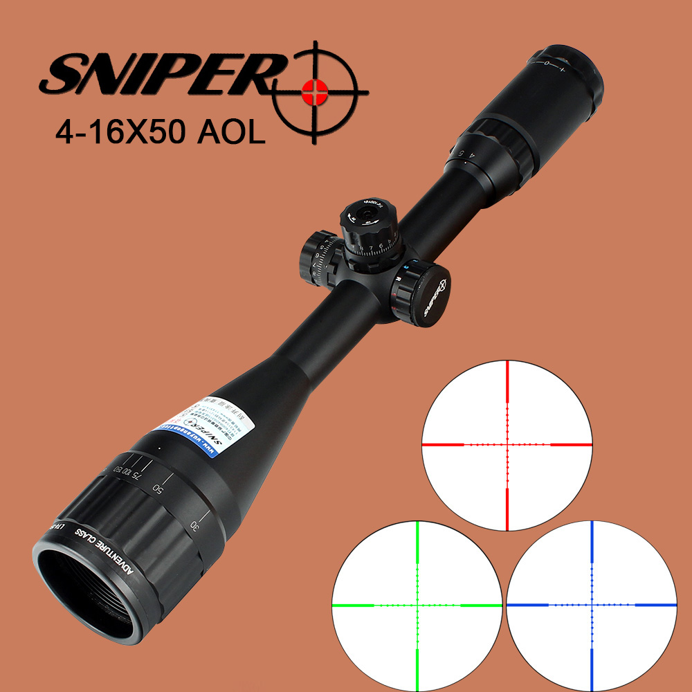 SNIPER 4-16X50 AOL Optical Sight Mil-Dot Red Green Blue Illuminated Equipment Hunting Tactical Rifle Scope tactial qd release rifle scope 3 9x32 1maol mil dot hunting riflescope with sun shade tactical optical sight tube equipment