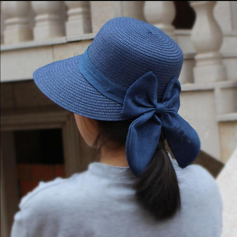 2019 NEW Sun Hat Big Bow Wide Brim Floppy Summer Hats For Women Beach Panama Straw Bucket Hat Sun Protection Visor Femme Cap