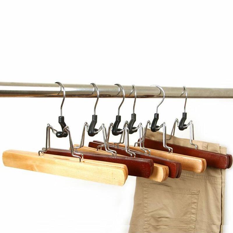 5 pcs / lot Kayu klip gaun wol gantungan celana mahoni klip mulus slip-tahan kayu rak pakaian basah dan kering
