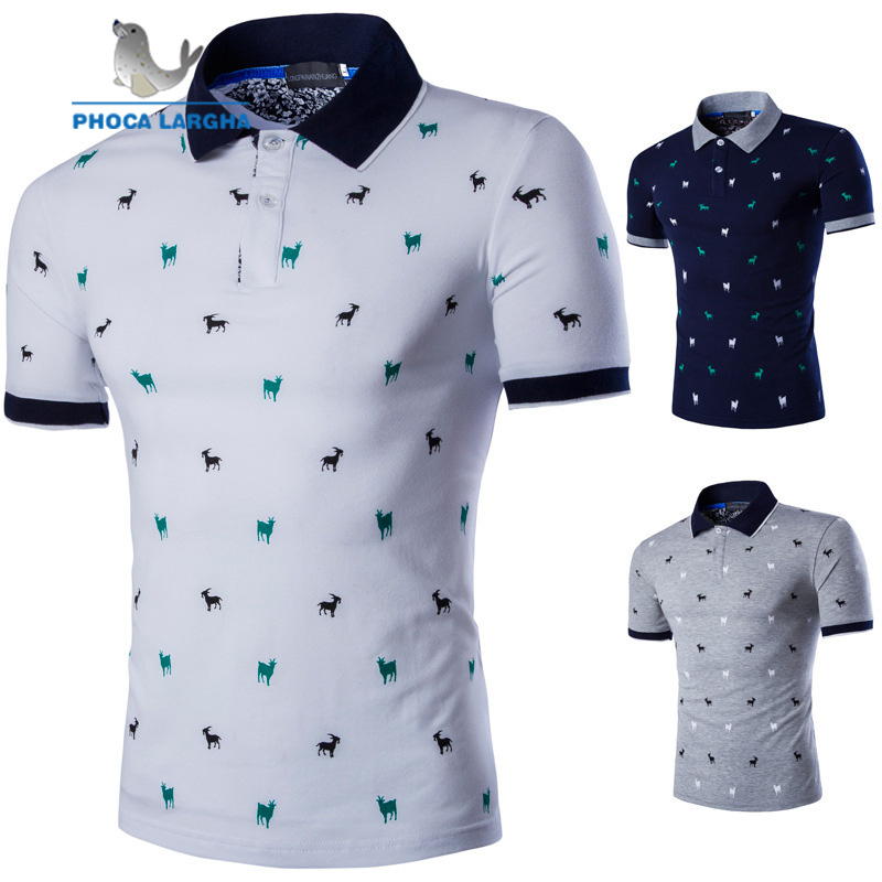 2019 New   Polo   Shirts Men Summer Fawn Print Short Sleeve For Man Slim Fit Cotton Casual Camisa   Polos   hombre Masculina Plus Size