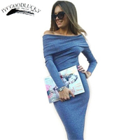 Sexy Club Bodycon Dress Fashion Slim Slash Neck Off Shoulder Women Dresses Long Sleeve Plus Size